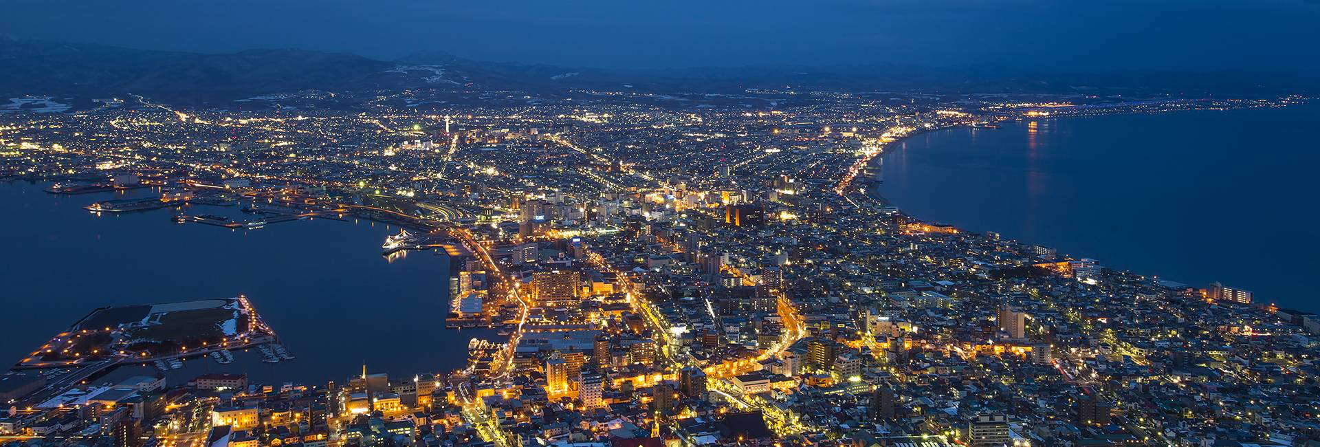 vista notturna di Hakodate