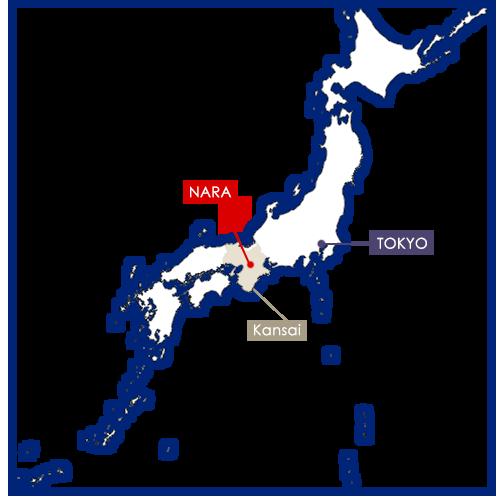 Nara sulla mappa del Giappone